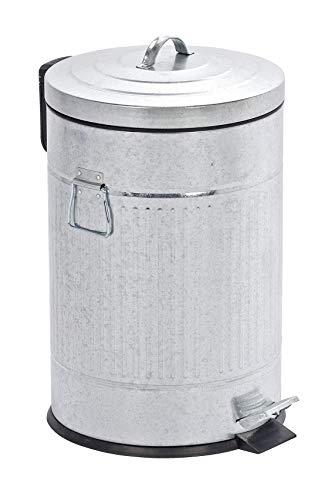 WENKO Cubo con pedal New York Easy Close - dispositivo automático de descenso, 20 litros, apariencia de chapa Capacidad: 20 l, Metal cincado, 31 x 47.5 x 31 cm, Plata