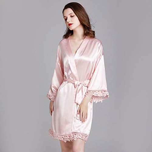 sjzwt Pijamas de Mujer Primavera y Verano de Manga Larga de Manga Larga para Las señoras de Las Damas Pijamas Bathrobes casero Pijamas Vestido de Noche Bathrobes Damas (Color : Pink)