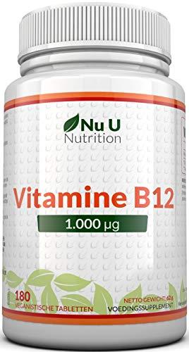 Vitamine B12 1000 μg - Sterke B12 Methylcobalamine - 180 Vegetarische en Veganistische Tabletten (6 Maanden Voorraad) - Helpt bij Vermindering Van Vermoeidheid - Gemaakt in het VK Door Nu U Nutrition