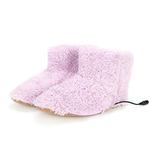 KANGMOON Hausstiefel Pantoffeln, Indoor Fußwärmer Weichen Boden Hausschuhe, Männer Frauen Winter Warme Plüsch Elektrische Schnittstelle Versteckt Waschbar USB-Ladegerät Boot Schuhe (Pink)