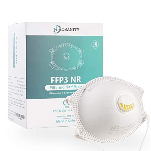 10X FFP3 Maske CE Zertifiziert Schutzmaske Maske, 6-Lagen-Atemschutzmaske, Erwachsenenmaske Mund-Nase Gesichtsschutz mit hochwertigem Stoff mit Atemventil 10Stück A01