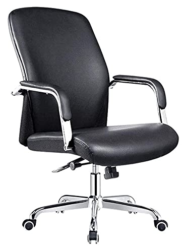 JIAH Bürostuhl, Lederstuhl, Freizeit-Drehstuhl, mit Armlehne, Drehstuhl, Schreibtischstuhl (Farbe: Schwarz, Größe: Einheitsgröße) (Farbe: Schwarz, Größe: Einheitsgröße)