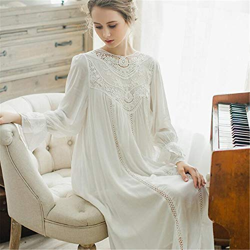 BABIFIS Long Sleeve Lace Cotton Nightdress Female French Palace Retro Lace Pajamas Elegant Romantic Princess Home Service Blue XL