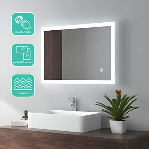 EMKE LED Badspiegel 50x70cm Badezimmerspiegel mit Beleuchtung kaltweiß Lichtspiegel Wandspiegel mit Touchschalter + beschlagfrei IP44 energiesparend
