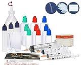 Juego de frascos cuentagotas, juego de inicio con botella mezcladora, frascos de líquido (frascos vacíos), jeringas dosificadoras, vaso dosificador y embudo para mezclar, líquido mezclador