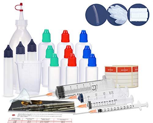 Tropfflaschen Set, Starter Set mit Mischflasche, Liquidflaschen (leere Flaschen), Dosierspritzen, Messbecher und Trichter zum Mischen, Mixen von Liquids