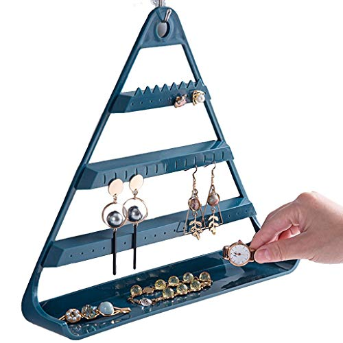 Joyería Soporte Triangular para Pendientes Soporte de exhibición de Joyas Soporte de Escritorio para Almacenamiento de Pendientes Soporte Collar (Color : Blue, Size : 29 * 28cm)