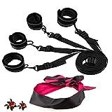 TM-mall Yoga-Gürtel, verstellbar, Nylon, Schwarz, mit weicher Augenklappe