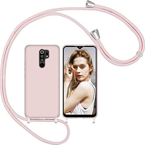 Nupcknn Funda Silicona con Cuerda para Xiaomi Redmi 9, Carcasa Suave Silicona Case con Correa Colgante Ajustable Collar Correa de Cuello Cadena Cordón(Oro Rosa)