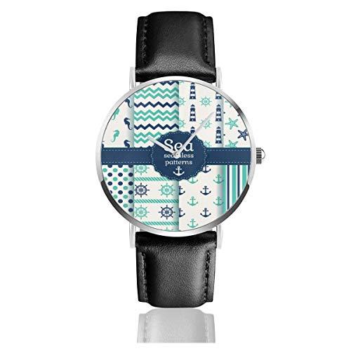 Conjunto de Relojes de Pulsera con Correa de Cuero Anclas náuticas Marinas Reloj de Negocios de Cuarzo de Acero Inoxidable Blanco Natural