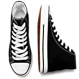kufeiti Women's High Top Canvas Sneakers Canvas Shoes Lace up White Black Sneakers Casual Walking Shoes(Black, US8)