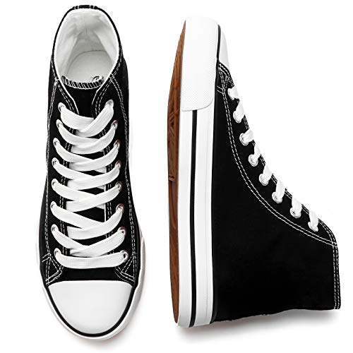 of high tops leading brands only kufeiti Women's High Top Canvas Sneakers Canvas Shoes Lace up White Black Sneakers Casual Walking Shoes