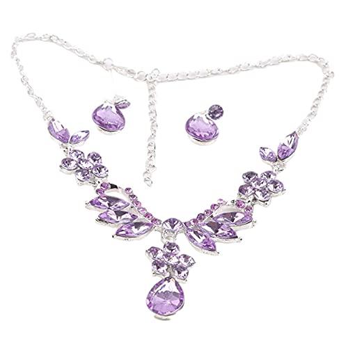 Pendientes temperamento nupcial con incrustaciones de diamantes de imitación collar pendiente conjunto de joyería de boda accesorios