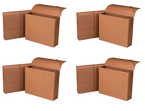 Smead 100% Recycled Expanding File Wallet with Flap and Cord Closure, 5-1/4' Expansion, Letter Size, Redrope, 10 per Box (71198) (4 X 10 per Box)