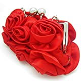 Missy K 7 Roses Clutch Purse, Satin, with Clasp Closure - Red, with kilofly Money Clip
