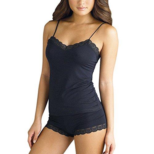 S-ZONE Conjuntos de Pijamas para Mujer Camisola de Encaje y Pantalones Cortos Conjunto de Lencería Básica Simple y Sexy Ropa de Dormir Delgada y Bragas