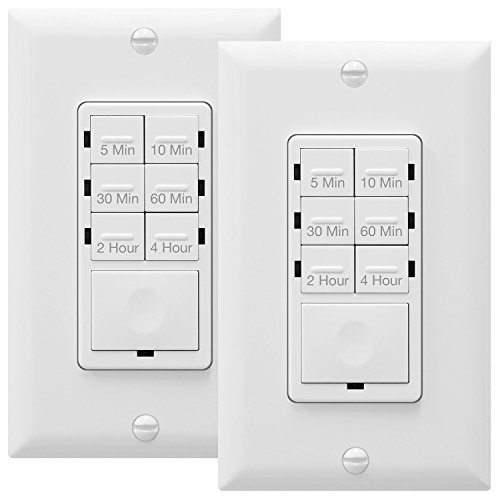 ENERLITES HET06-R-2PCS Countdown Timer Switch, Fan Switch Timer, Wall Light Timer Switch, Bathroom Timer Switch, 5 min – 4 hrs, Night Light LED Indicator, Neutral Wire Required, White, 2-Pack
