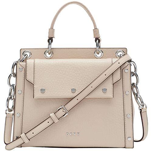 DKNY Medium Leather Satchel Handbag, Eggshell/Silver Gianna