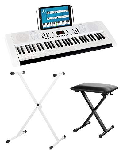 Funkey 61 Edition Keyboard Set inkl. Keyboardständer und Bank (128 Sounds, 128 Rhythmen, 10 Demo Songs, Netzteil, Notenständer, Ständer, Hocker) weiß