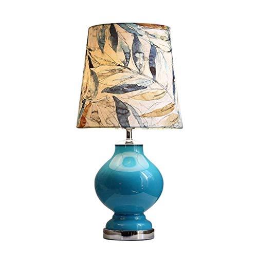 WFSH Hoja de Impresión Americana Creativa de Noche Azul Tablamp Tablamp Lámpara de Cabecera Pantalla de la Tela Moderna Minimalista Dormitorio de la Lámpara de Lectura Lámpara de Cristal Tab