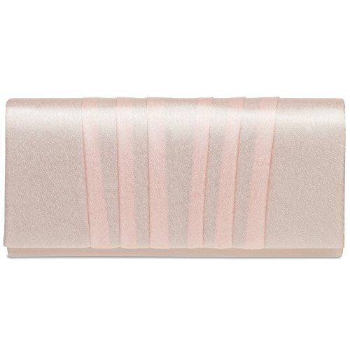 Caspar TA390 Donna Pochette in Raso con Pieghe, Dimensioni:Taglia unica, Colore:rosa