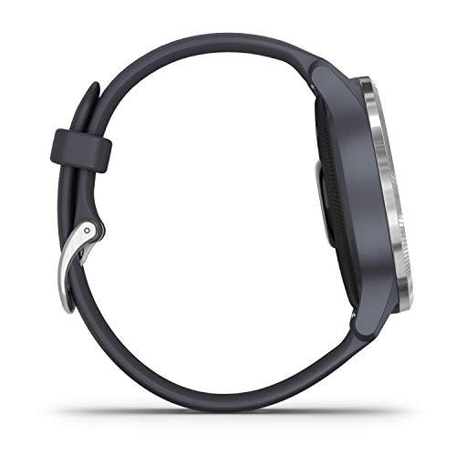 Garmin Venu Montre Connectée GPS Multisports avec Écran Amoled, Musique, Garmin Pay, Autonomie Longue Durée – Silver/Granite Blue - Cadran 43 mm