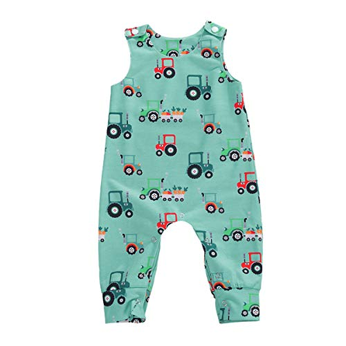 Newborn Toddler Baby Girl Boy Sleeveless Cartoon Romper Bodysuit Jumpsuit Animal One Piece Outfit Summer Clothes (A-Sky Blue Tractor  18-24 Months)