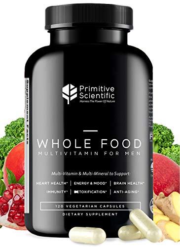 Primitive Scientific Whole Food Multivitamin for Men (120 Vegetarian Capsules) for Strength, Energy, Immune Support, Anti-Aging and More   Natural & Sugar-Free Multivitamin for Men