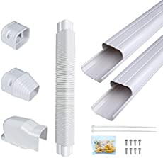 Daisypower PVC Decorative Air Conditioner Line Set Cover kit, Tubing Covers Protect Your Ductless Mini Split,Central AC,Cooling Only, Heat Pump (3in W,9ft L)