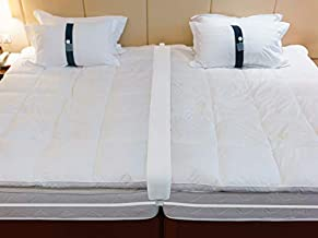 Twin to King Bed Bridge - Converter Kit for Twin Beds - Gap Filler Pad with Strap - Quickly Create King Size Bed - Mattress Connector for Guest Room