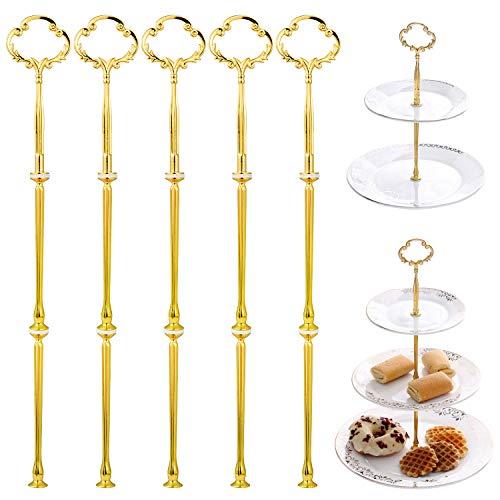 WolinTek Conjunto de 5 Cake Oro Flores Plate Fittings 3 Estantes Soporte de Plato para Dulces o Tartas Accesorios de Placas de Pastel