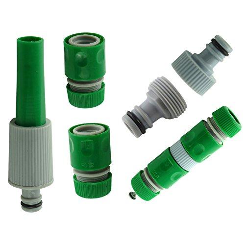 Rose Evans Adaptateur pour tuyaux 5 pièces avec 1 tuyère, 2 raccords et 2 adaptateurs pour robinet Vert/gris