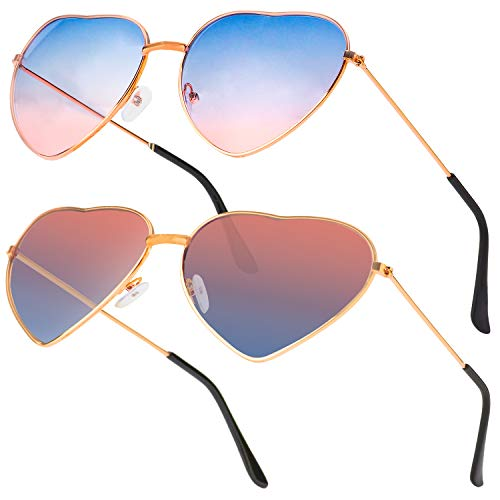 Haichen herzförmige Sonnenbrille herzförmige Sonnenbrille Hippie-Brille für Frauen Mädchen Kostümzubehör, Rose Gold Frame (G)
