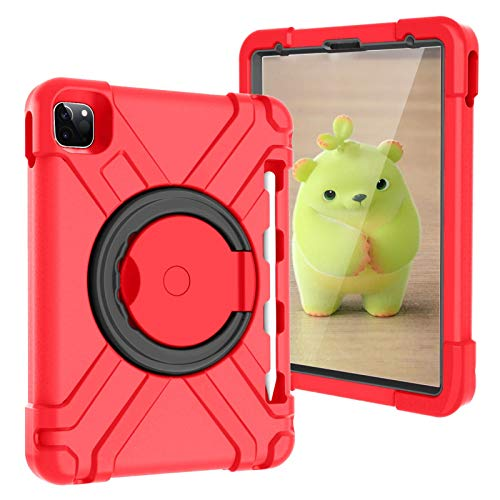 Jacquelyn Case for iPad Pro 11 inch 2nd & 1st Generation 2020/2018, Shockproof Heavy Duty Hybrid Three Layer Armor Defender Kids Child Proof Cover (Color : Red/Black)