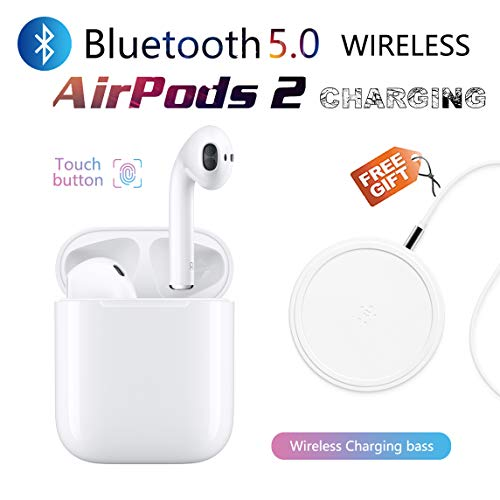 Bluetooth headsets Wireless Earbuds in-Ear Touch Noise Reduction Earbuds with Fast Wireless Charging case for Android/iPhone Apple airpods 2 airpod airpods Waterproof Sports Headphones (White)