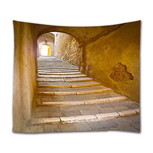 A.Monamour Wandteppiche Steinstufen Treppe Treppe Schmale Gasse Italien Toskana Mittelalterliche Stadt Antike Architektur Wandbehang Tapisserie Gardinen Tischdecke Tagesdecke Strandtuch 153X229Cm