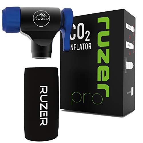 RUZER© CO2 C02 Inflator Quick & Easy Presta & Schrader Ventil kompatible Fahrrad-Reifenpumpe für Rennräder & Mountainbikes & Isolierte Hülse für 12g, 16g, 20g & 25g Kartuschen