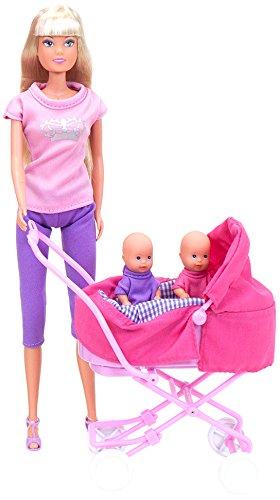Simba 105738060 Steffi Love & Sunny Twin babypoppen & dubbele miniatuur kinderwagen | 29cm pop met 12 geweldige accessoires | Leeftijden 3+, Multi