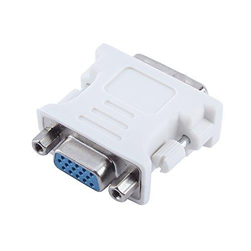 KUIDAMOS Adaptador DVI Macho a VGA Hembra, Adaptador de Cable DVI a VGA Compatible con Todas Las computadoras Equipadas con DVI-I para Monitor de computadora portátil