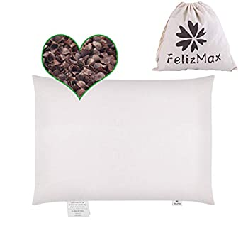 """Organic Buckwheat Pillow for Sleeping 100% Natural Premium buckwheat hulls Organic Cotton Cover for Cool Sleep Neck Support for Back and Side Sleepers Buckwheat Pillow Refill-Travel Size 15"""" x 9"""""""