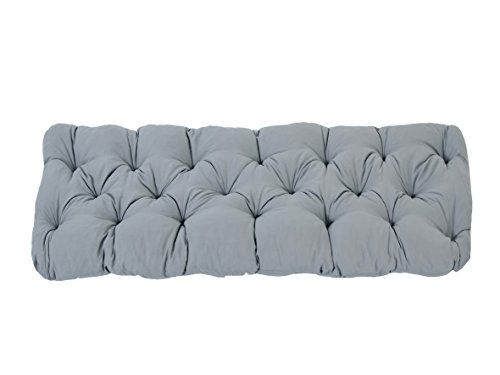 Ambientehome 120 x 50 x 8 cm EVJE 2 Seater Bench Soft Seat Pad Cotton Cushion - Light Grey