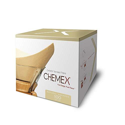 Chemex Filtros de café cuadrados sin blanquear preplegados, 100 unidades