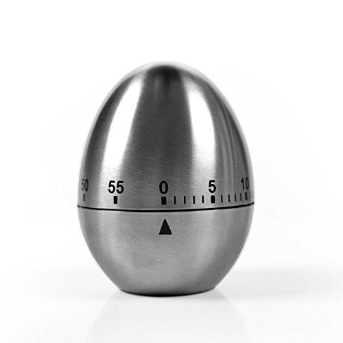 BEREAM キッチン タイマー アナログ 料理 用 卵型 ステンレス 鋼製 電池不要 シルバー B079KVY5KC 1枚目