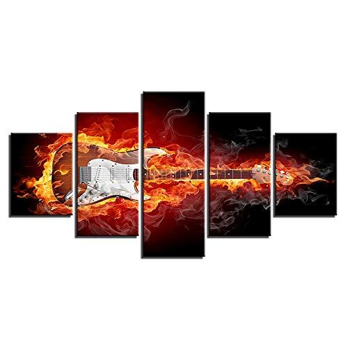 ZQCZ HD Inkjet Leinwand-Wand-Gemälde Fünf Feuer-Gitarre Großer gerahmter Kunst auf Leinwand für Home Office Dekoration Bild-Grafik,Withframe,D