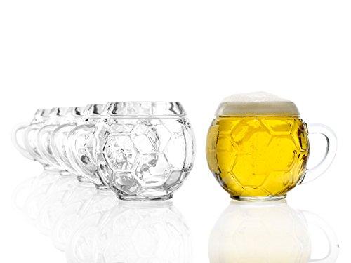Stölzle Oberglas Fußball Bierkrug 0,4l - Original Fußballkrug, 6 Biergläser, Tradition, spülmaschinenfest, hochwertige Qualität