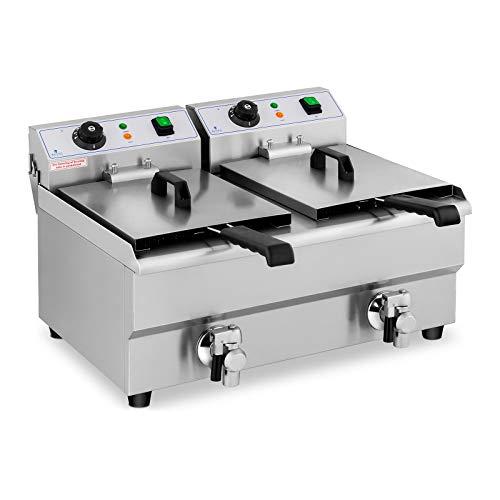 Royal Catering Fritteuse Edelstahl Doppel-Fritteuse RCEF 10DB (2 x 3.000 W, Kapazität: 2 x 10 l, Temperaturbereich: 50-200 °C, Kaltzone, mit Ablasshähnen)