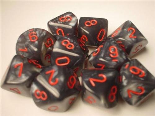 Chessex Dice Sets: Velvet Black with Red - Ten Sided Die d10 Set (10)