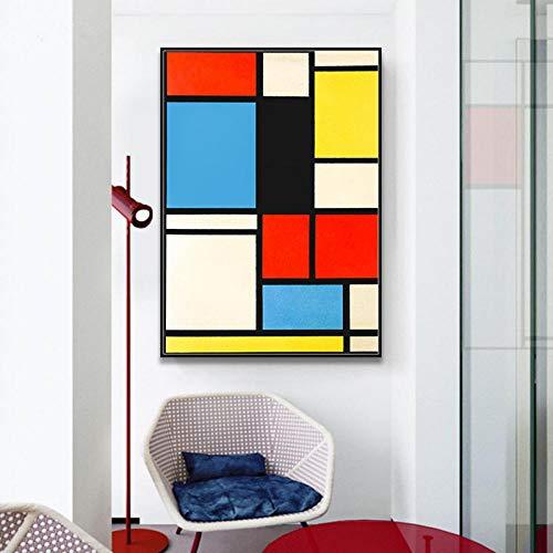 LLXHG Wooncultuur Klassieke kunst geometrie lijn rood blauw geel compositie canvas print schilderijen poster wanddecoratie 60X90cm niet ingelijst