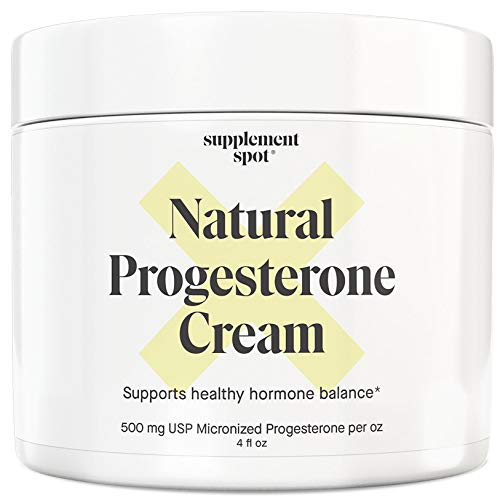 Supplement Spot Natural Progesterone Cream for Women – Micronized Bioidentical USP Progesterone Cream from Wild Yam for Menopause Relief & Mood Balance (4 oz.)
