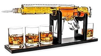 AR15 Whiskey Decanter Set 1000 ml & 4 12oz Bullet Glasses - Unique Gift - Drinking Party Accessory Handmade Gun Liquor Decanter